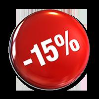 15% rabais/rebate